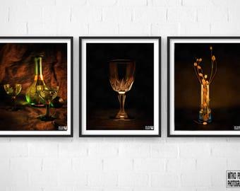 Set of 3 digital painting art works.Instant download.Artworks.Poster.Wall art.cup,bottle,dried flowers,vase, light, canvas,Brown,