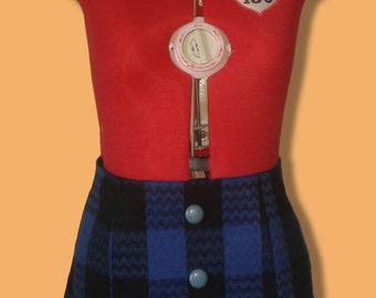 Black&Blue Wool tartan plated skirt