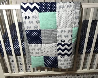 Elephant Baby Quilt, Patchwork Baby Boy Quilt, Safari Baby Quilt, Minky Baby Quilt, Safari Crib Bedding, Mint Baby Blanket, Navy Baby Quilt