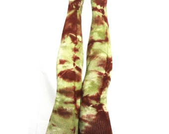 Tall Socks in Green and Brown tie dye. All the way up thick cotton socks. Can be worn with garters for maximum height. Thigh high socks.