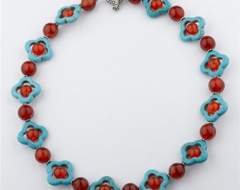 Turquoise and Red Agate Statement Necklace