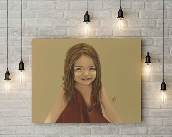 Ann little girl playing painting art print