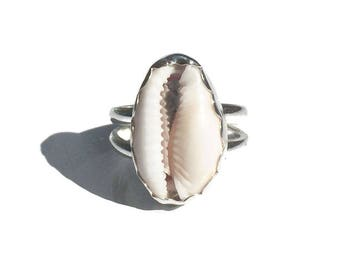 silver cowrie ring, made to order