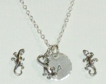 Gecko Necklace, Gecko Hand Stamped Sterling Silver Petite Initial Charm Necklace and Earring Jewelry Set, Lizard Jewelry, Lizard Gifts