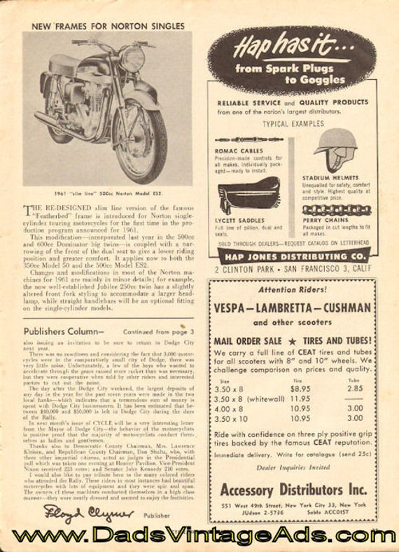 1961 New frames for Norton Singles 1-Page Article #e60kb05