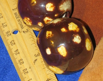 Two Extra Large Ceramic Beads, Vintage