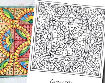 Printable Coloring Page - Quilt: Cactus Bloom - Cheryl Casey Art - Digistamp, Digital Stamp