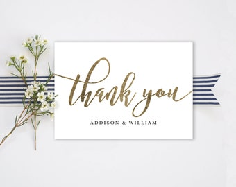 Thank You Folded Card Editable Template GOLD| Thank You Card Printable, Hand Lettered, Calligraphy | Wedding  5x3.5"