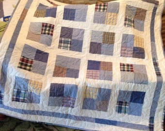 Memorial Patchwork Quilt with Sashing and borders