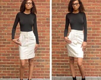 Vintage Cream Secretary Skirt