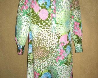 60s 70s Dress Jersey Floral - M Vintage