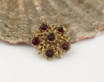 1940s Small Gold Plated Tone Metal Flower Shape Brooch with Red Glass Stones