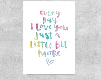 Love Print, Nursery Wall Art, Baby Print, Baby Shower Gift, Loved Print, Rainbow Nursery Decor, Bright Girls Room Print, Watercolour Art