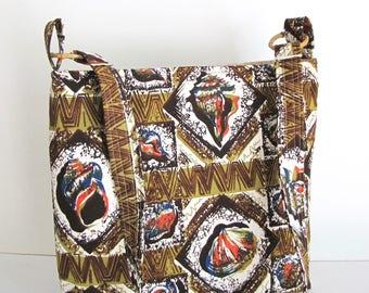 Batik Bag, Wax Dyed Cotton Bag, Cross Body Bag, Slouch Bag, Large Bag, Shells, Shoulder Bag, Handmade, Zippered Pocket, Boho bag