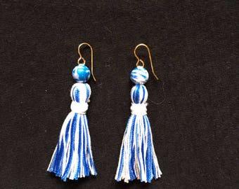 Blue and White Tassel Earrings