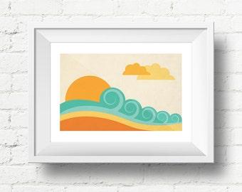 Minimal Beach Surf Retro Art Print, Seaside Giclee Art Print Gift