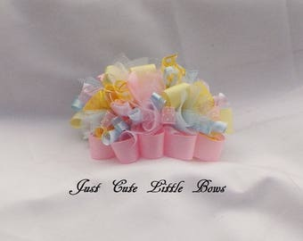 Easter Funky Loopy Hair Bow in Pink, Blue, and Yellow