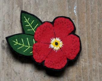 Felt Flower - Hand Embroidered Brooch