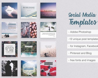 Asian Dream Social Media Templates PART 1 Instagram Facebook Pinterest Marketing Promotion With Travel Business Quotes Pack Feminine Elegant