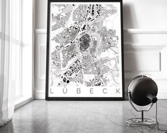 Map of Lübeck, Germany - Travel Decor - Map ART - Lübeck Poster - Germany Print - Scandinavian Art - Black and White Poster - Travemünde