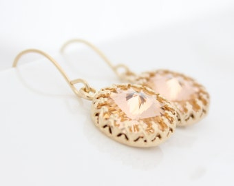 Gold earrings set with light peach Swarovski crystals • Gifts for her • Bridal earrings