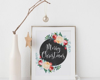 Merry Christmas Printable-Merry Christmas Sign-White Roses Red Flowers Chalkboard-Christmas Wall Art-Chalkboard Circle Christmas Digital