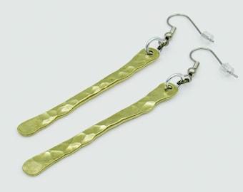 Long Bar Earrings, Stick Earrings, Minimal Earrings, Brass Earrings, Minimalist Jewelry, Long Earrings, Boho Earrings