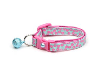 Polka Dot Cat Collar - Pink Dots on Aqua Blue- Breakaway Cat Collar - Kitten or Large size