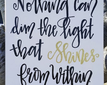 Maya Angelou Shines From Within Embossed Canvas