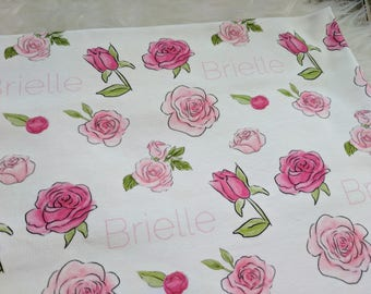 Personalized baby girl rose name swaddle blanket for newborn or hospital pictures: baby personalized name newborn hospital gift baby