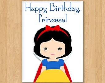 Snow White Inspired Princess Birthday Card - Blank - Free shipping!