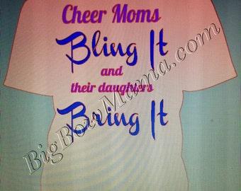 Cheer Moms Bling It Tshirt ~ Glitter