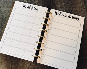 Fitness and Wellness CORE Inserts, Meal Planner, Undated Planner, Habit Tracker, Grocery List, Fitness Planner, Fitness Journal, Fitness Log