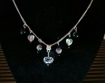 B lack and Silver Dangling Hearts Chain Necklace