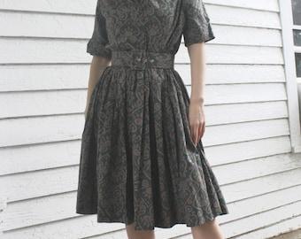 50s Green Batik Dress Vintage 1950s Cotton Print Full Skirt S