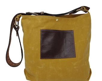 Daytona Waxed Canvas Hobo Bag - Yellow with Recycled Leather Belt Hobo Bag, Waxed Canvas Bag, Recycled Leather, Beige Shoulder Bag