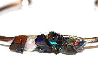 Raw Black Opal Cuff Raw Stone Cuff Opal Bracelet Raw Opal Bracelet Boho Bracelet Boho Cuff Stacking Bangle Modern Bracelet Raw