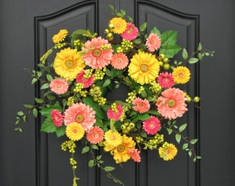 Spring Wreaths, Spring Wreath for Front Door, Gerber Daisy Wreath, Yellow Daisy Wreath, Wreaths for Spring, Spring Door Wreaths, Wreaths