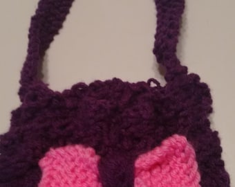 Girl's purple handbag with adorable bow Knitted  Free shipping!