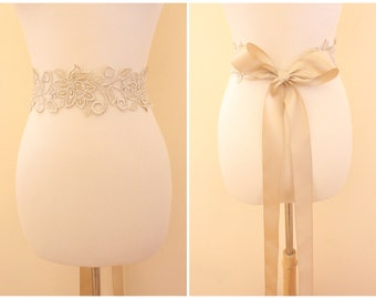 Light Gold Flower Metallic Lace with Champagne Satin Sash // Bridal Sash // SH-03