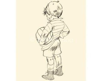 Muddy Morning, vintage boy art print, boys nursery, football, soccer