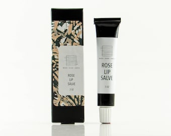 Rose Lip Salve / lip balm / lip gloss / natural / new & improved formula in metal squeeze tube