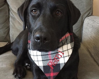 Personalized Flannel Red White and Black Plaid Dog Bandana - Monogrammed Reversible Pet Scarf - Dog Lover Gift by Three Spoiled Dogs