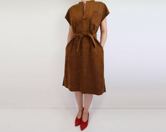 VINTAGE Ultrasuede Dress Brown Belted Shortsleeve