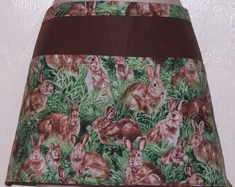 Handmade server waitress half apron  Rabbits in grass with three pockets 6320