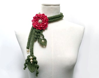Crochet Lariat Necklace - Olive Green Leaves and Cherry Red Flower with Glass Pearls - Made to Order - LITTLE PEONY