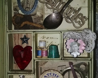 Assemblage Objects Memory Box Curiosity Shadow Book Antique Vintage