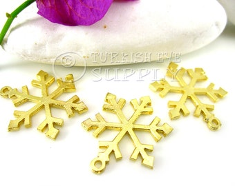 3 Pc Snowflake Pendant, Gold Snowflake Charms, 22K Gold Plated Snowflake Findings, Turkish Jewelry