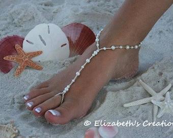 Barefoot Sandals, Simply Elegant White Pearls- Destination Wedding, Beach Wedding Sandals, Bridal Beach Sandals, Bridesmaids Sandals