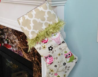 Handmade Pink and Green Owls Christmas Stocking with Cream Trellis Top and Green Brush Trim